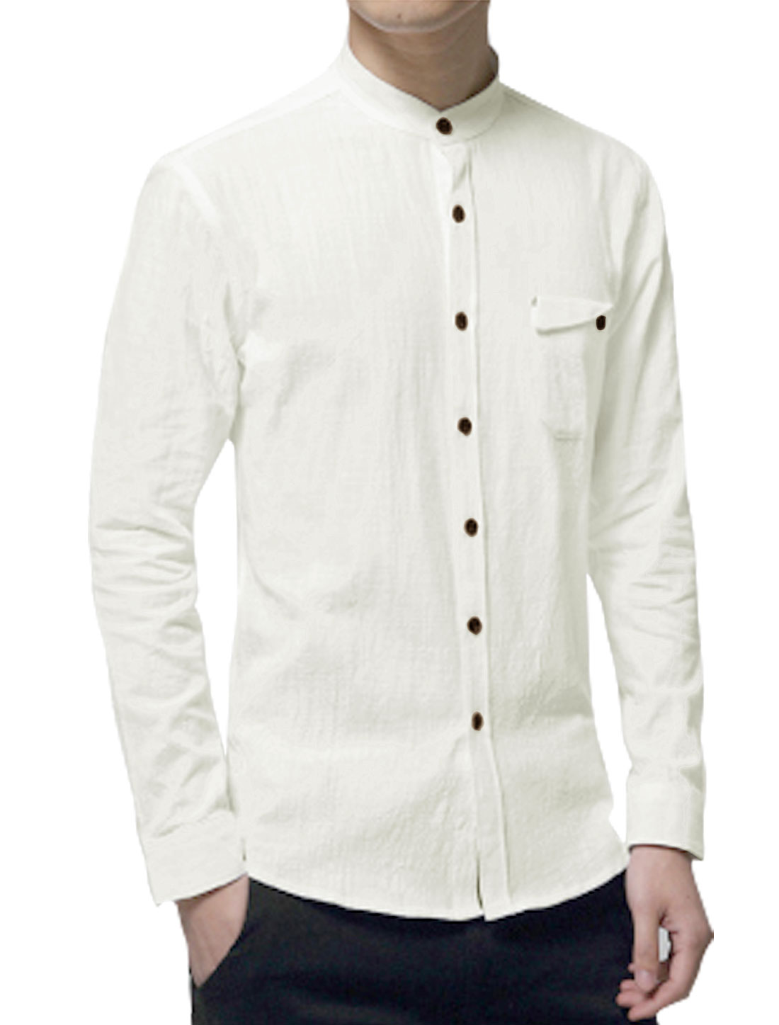 Men Stand Collar Button Closed Slim Fit Shirt White M