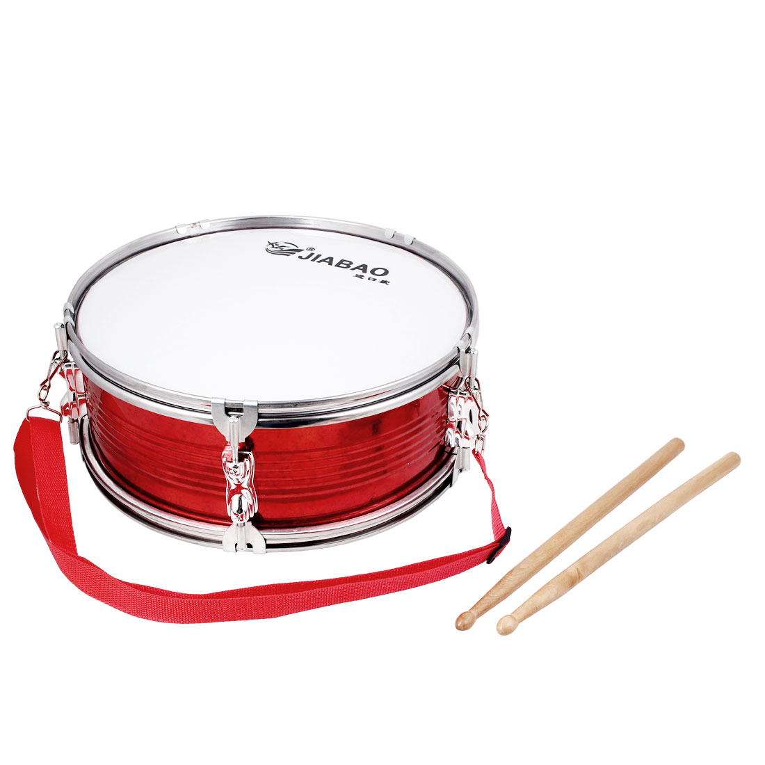 Dance Gathering Festival Tin 13 Inch Drum Set Red Silver Tone w Sticks