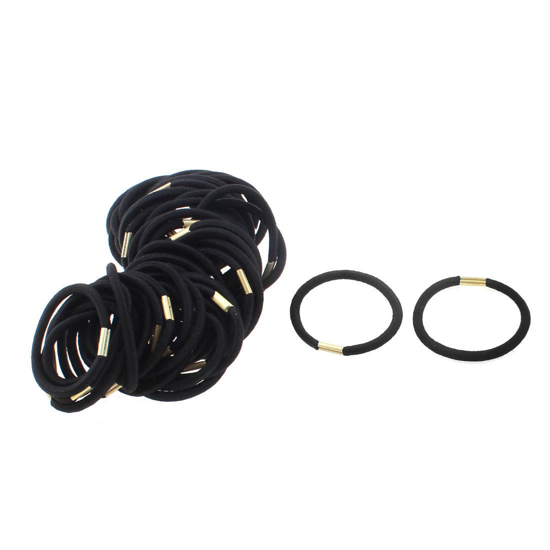 Women DIY Craft Elastic Hair Tie Rope Ring Band Hairband Ponytail Holder Black 50pcs