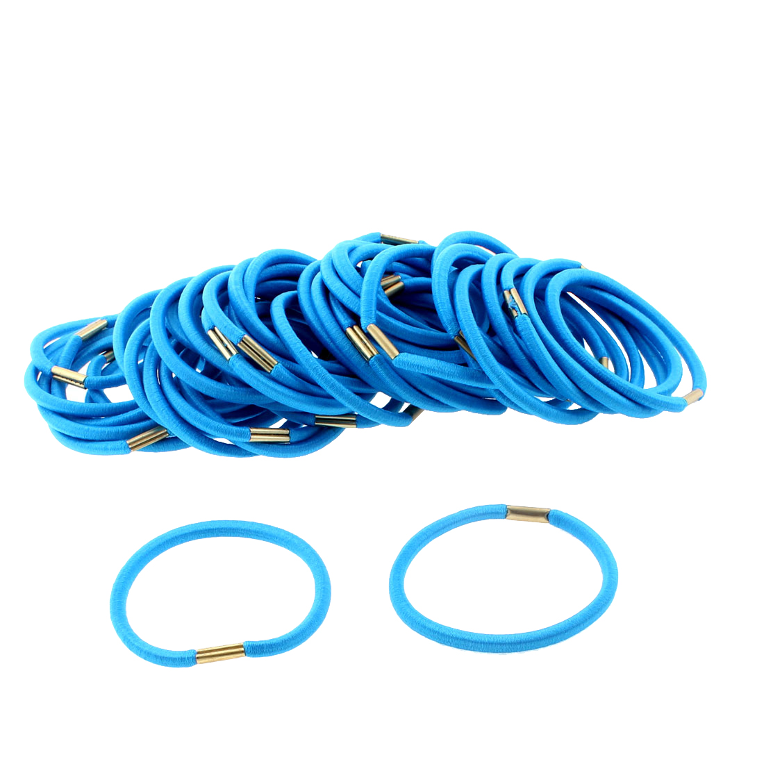 Women DIY Craft Elastic Hair Tie Rope Ring Band Hairband Ponytail Holder Blue 50pcs