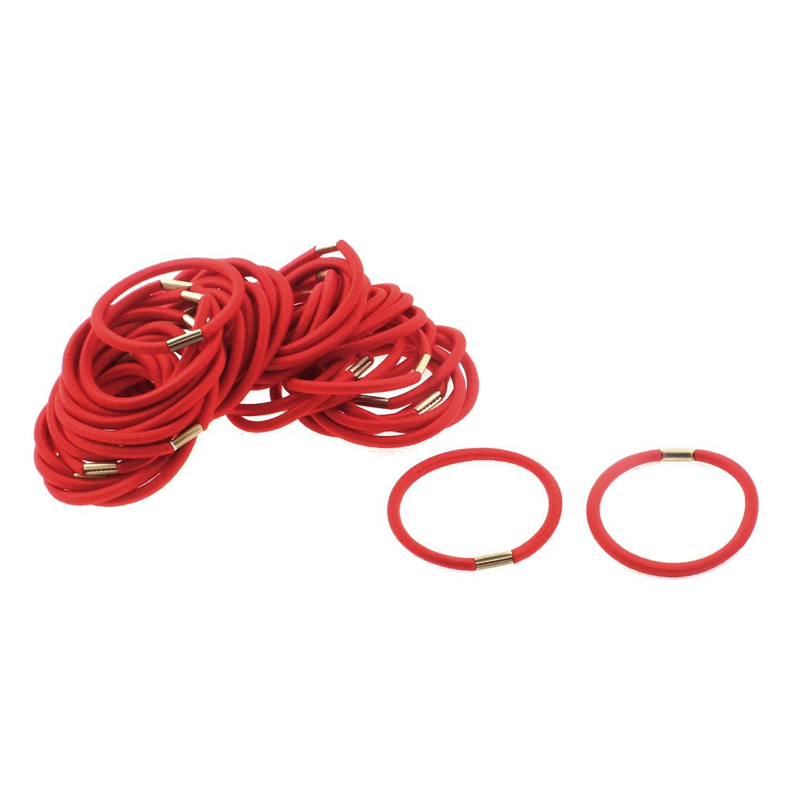 Women DIY Craft Elastic Hair Tie Rope Ring Band Hairband Ponytail Holder Red 50pcs