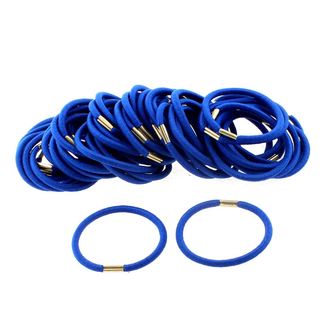 Women DIY Craft Elastic Hair Tie Rope Band Hairband Ponytail Holder Dark Blue 50pcs