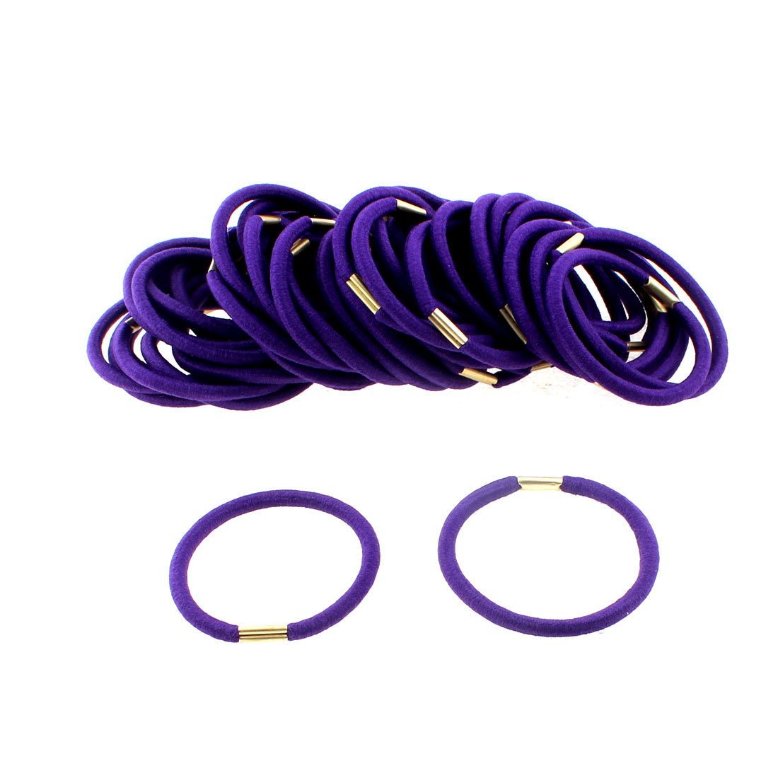 Women DIY Craft Elastic Hair Tie Rope Ring Band Hairband Ponytail Holder Purple 50pcs