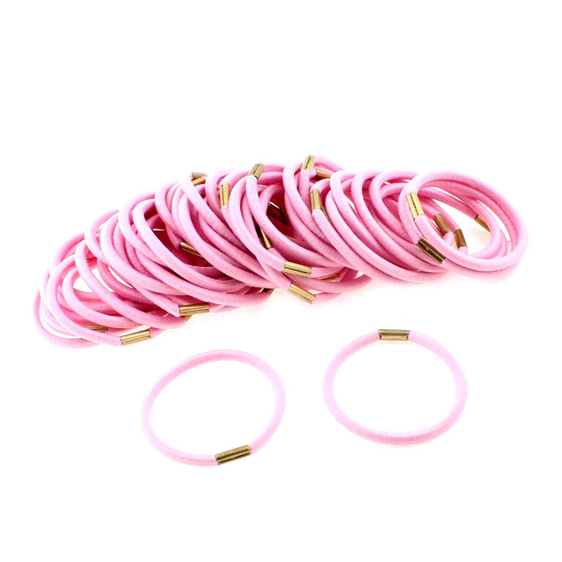 Women DIY Craft Elastic Hair Tie Rope Ring Band Hairband Ponytail Holder Pink 50pcs