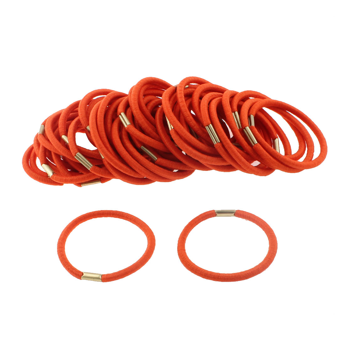 Women Elastic Hair Tie Rope Ring Band Hairband Ponytail Holder Orange 50pcs
