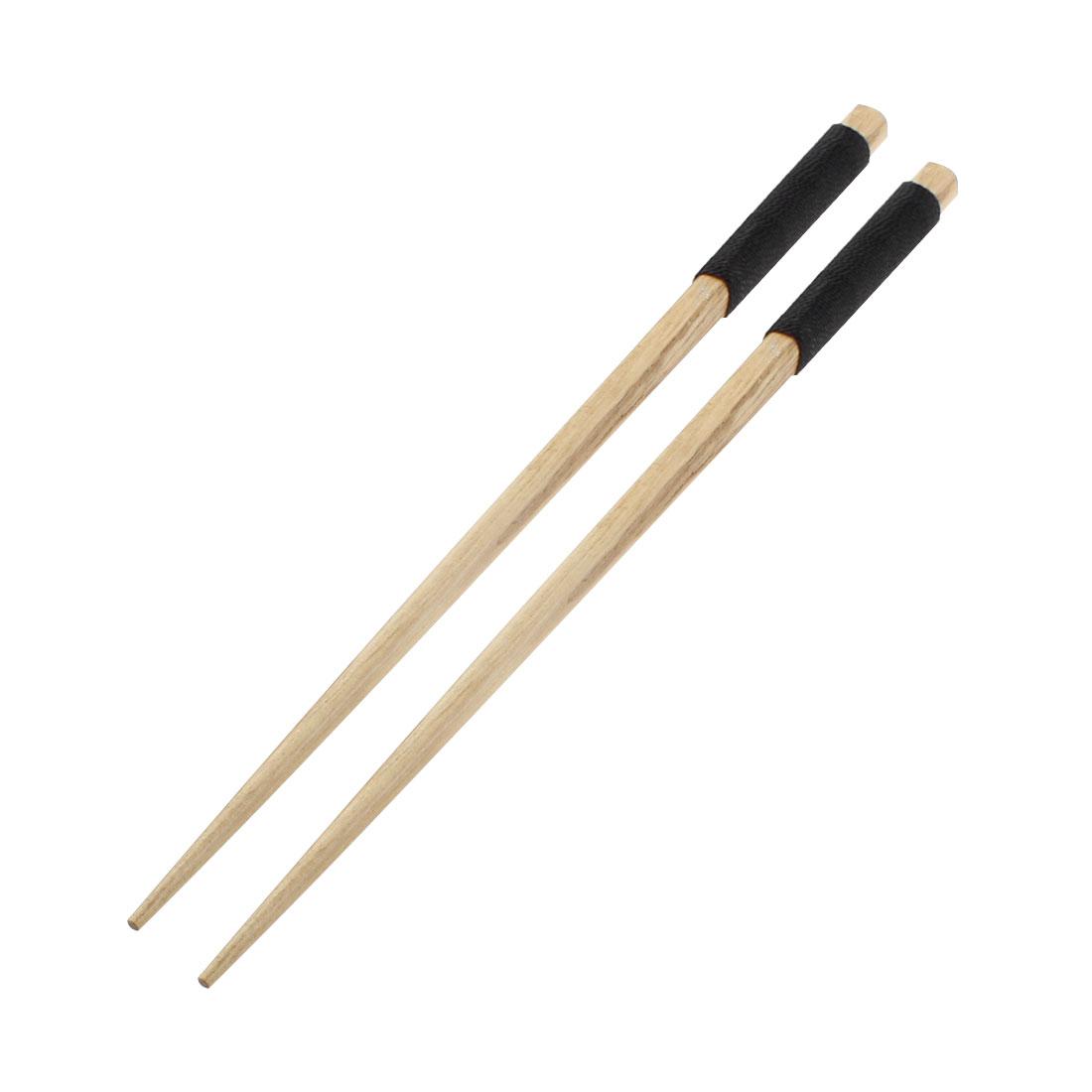 Home Kitchen Tableware Twine Nonslip Handle Wooden Chopsticks 22.5cm Long Pair