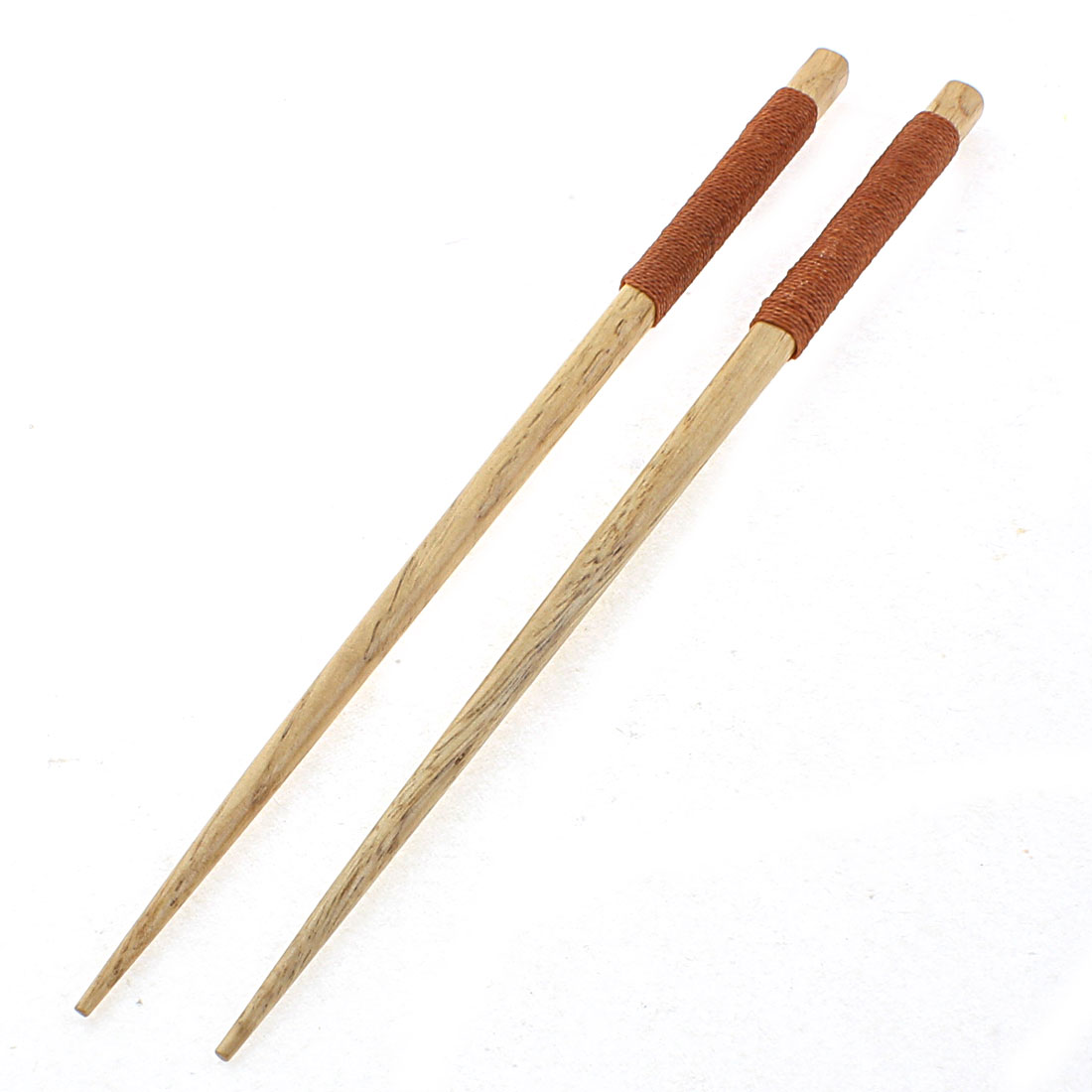 Home Kitchen Tableware Twine Nonslip Handle Wooden Chopsticks 22.5cm Length Pair