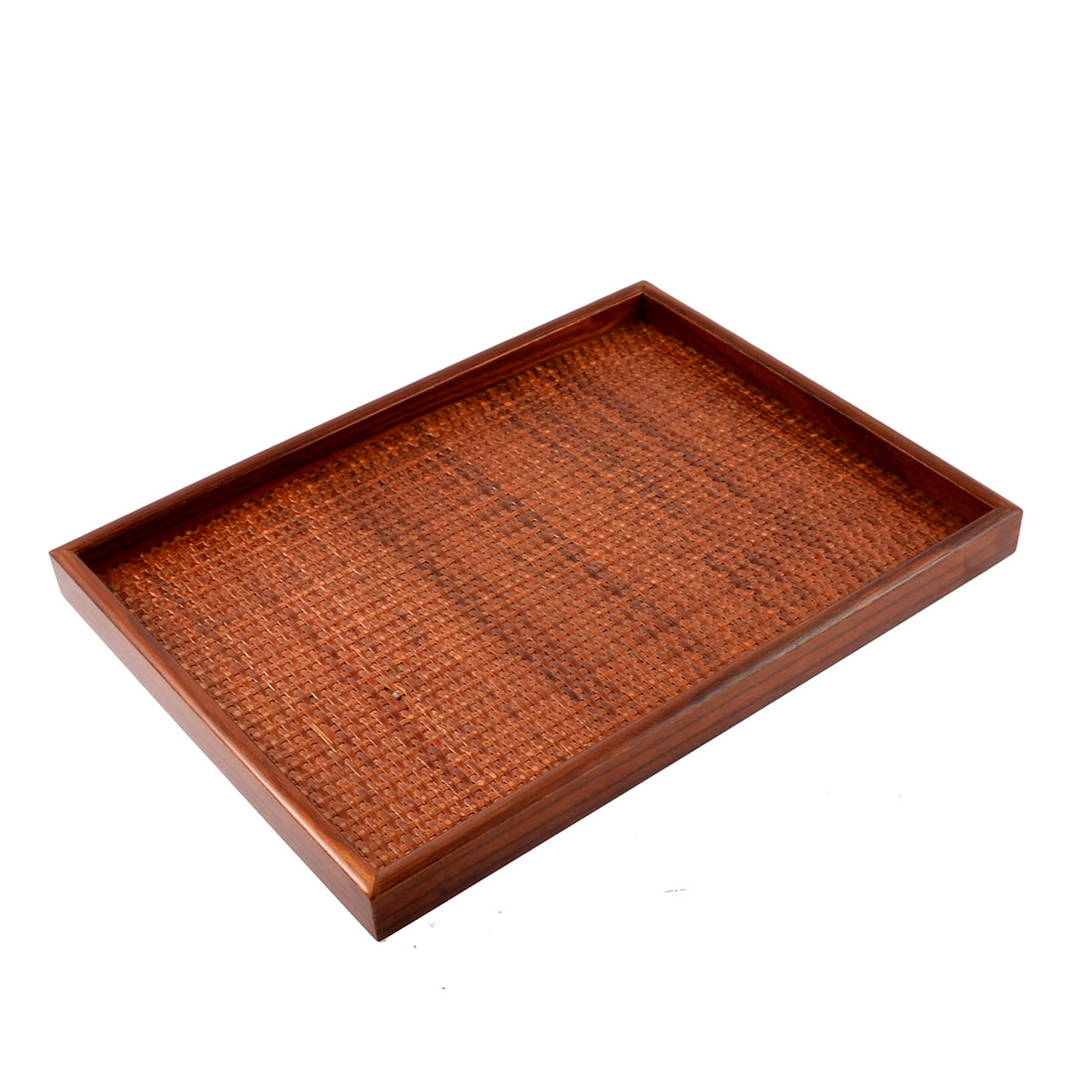 Restaurant Coffee Shop Wood Rattan Wave Design Tea Dessert Food Serving Tray Platter