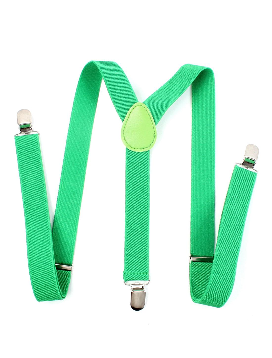 Men Women Metal Clip Y-Shaped Elastic Adjustable Suspender Braces Belt Green