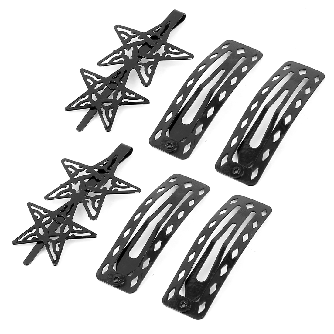 Lady Metal Rectanglar Star Design Bow Prong Snap DIY Hair Clips Hairpin 3 Pairs