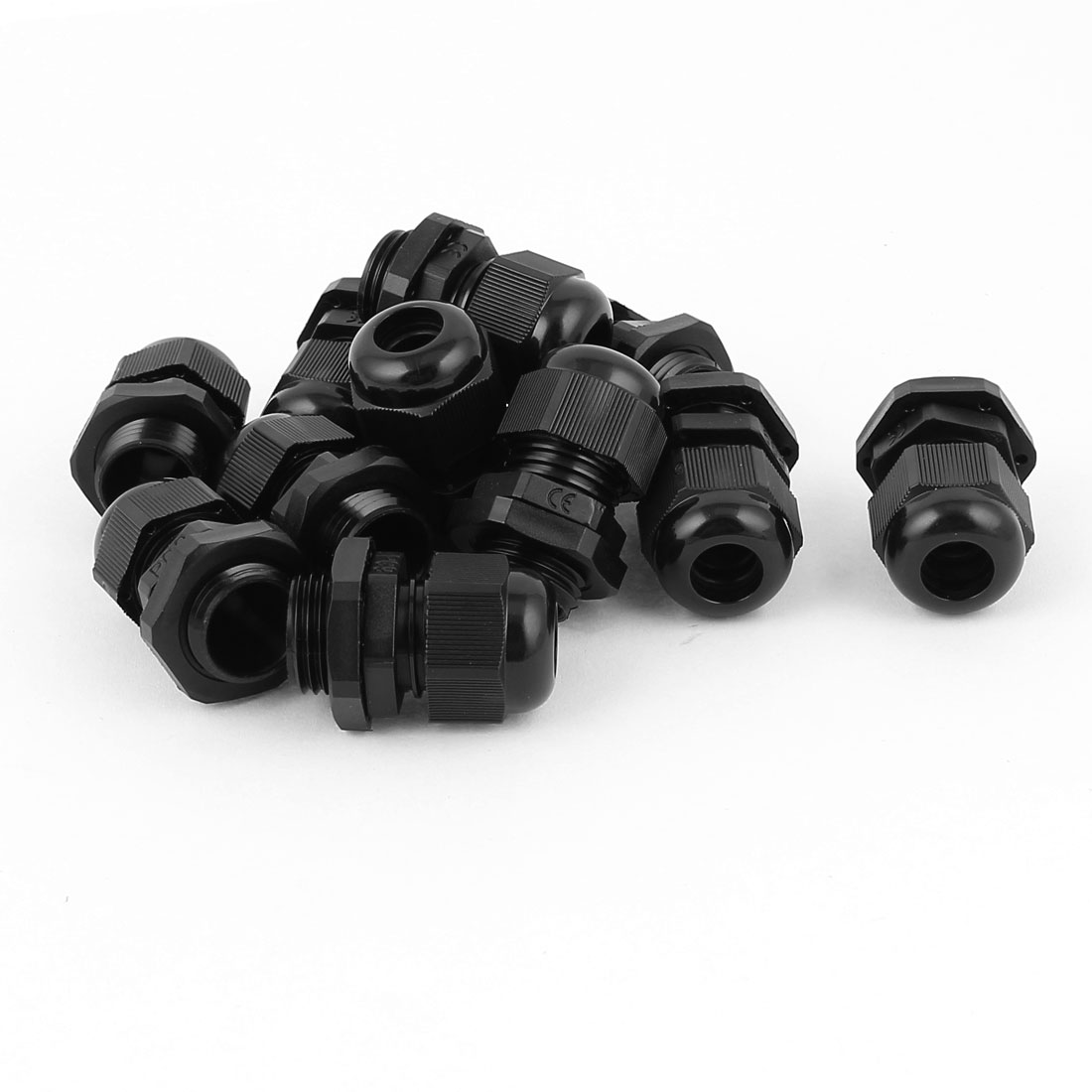 PG9 4mm-8mm Cable Range Plastic Wire Gland Connector Black 15mm Thread 9pcs