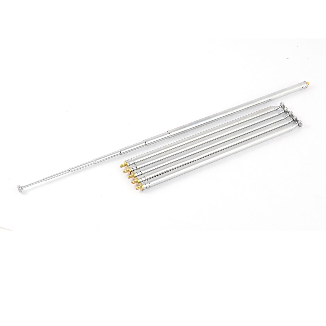 "97cm 38"" Long 3mm Male Thread Dia Metal Rod Telescopic 7 Sections TV Radio Controller Antenna Remote Aerial"