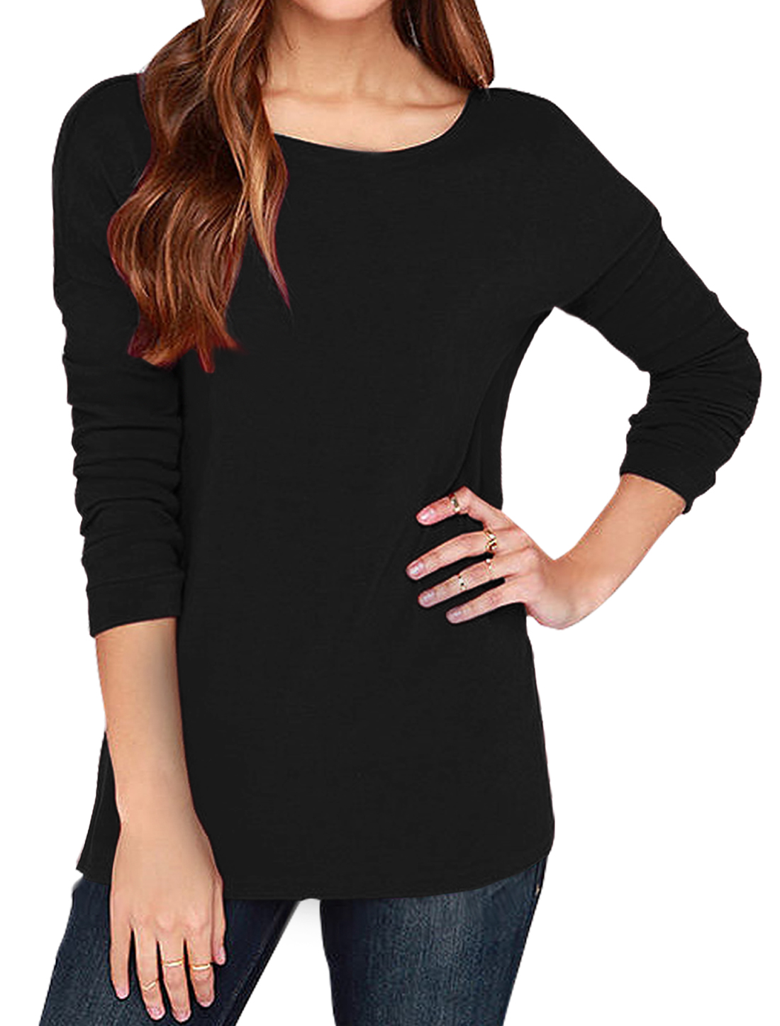 Lady Round Neck Long Sleeves Drop Shoulder Open Back Tunic Top Black M