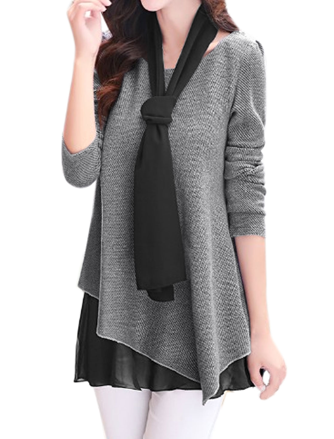 Women Chiffon Panel Loose Textured Tunic Top w Shawl Gray L