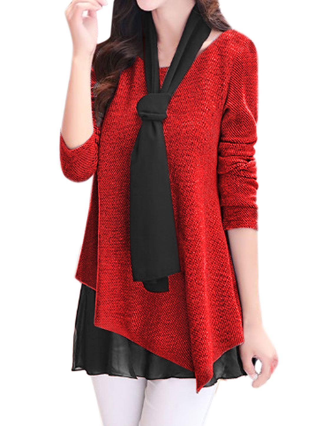 Women Chiffon Panel Loose Textured Tunic Top w Shawl Red L