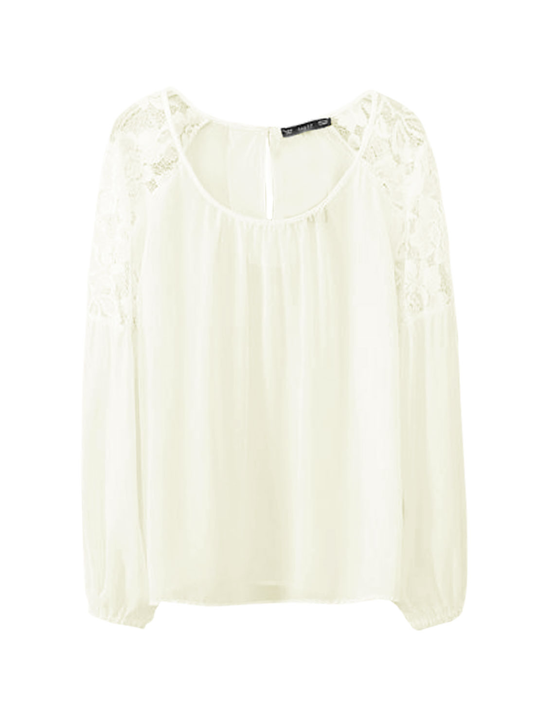 Women Raglan Sleeves Lace Panel Semi Sheer Blouse White M