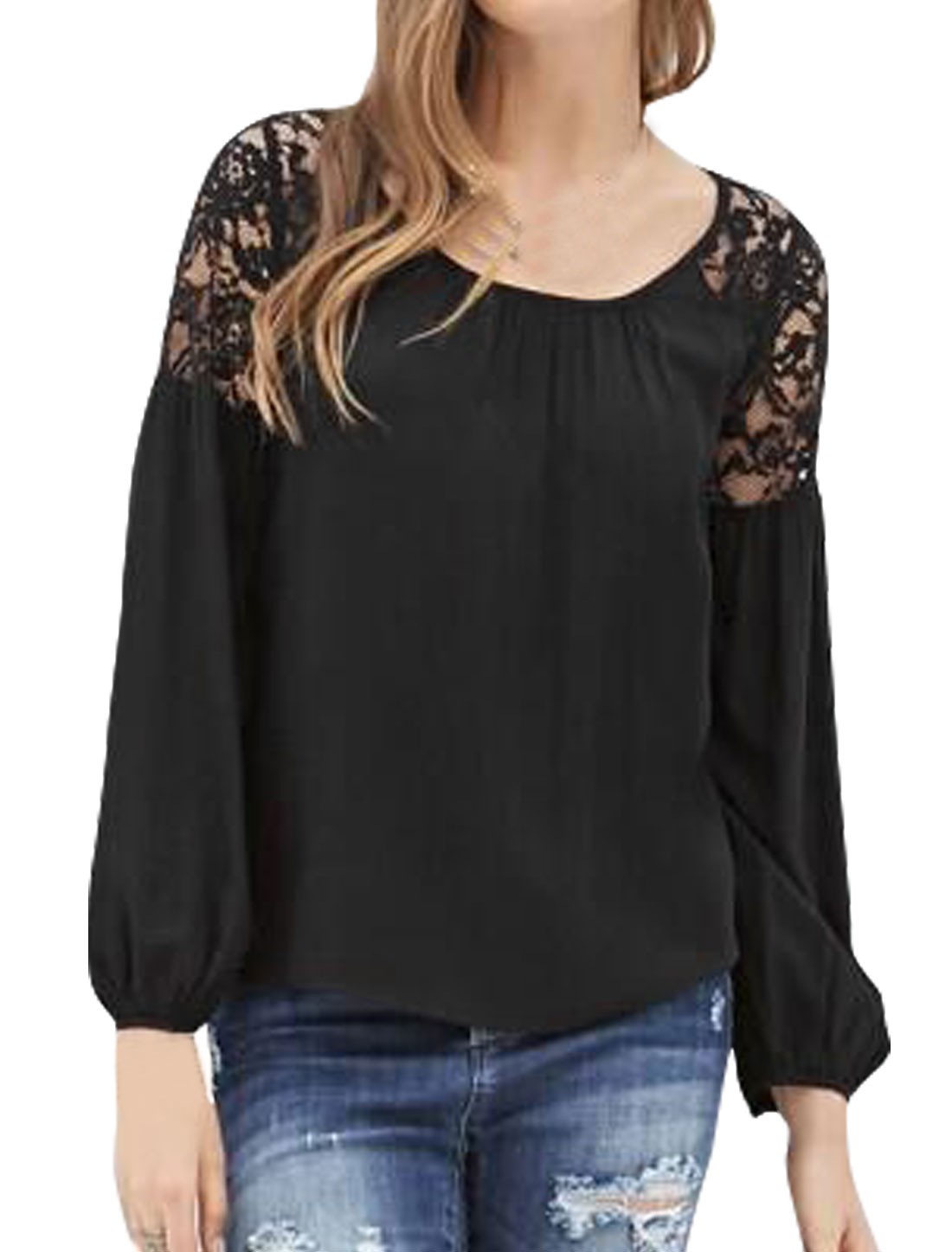 Women Raglan Sleeves Lace Panel Semi Sheer Blouse Black M