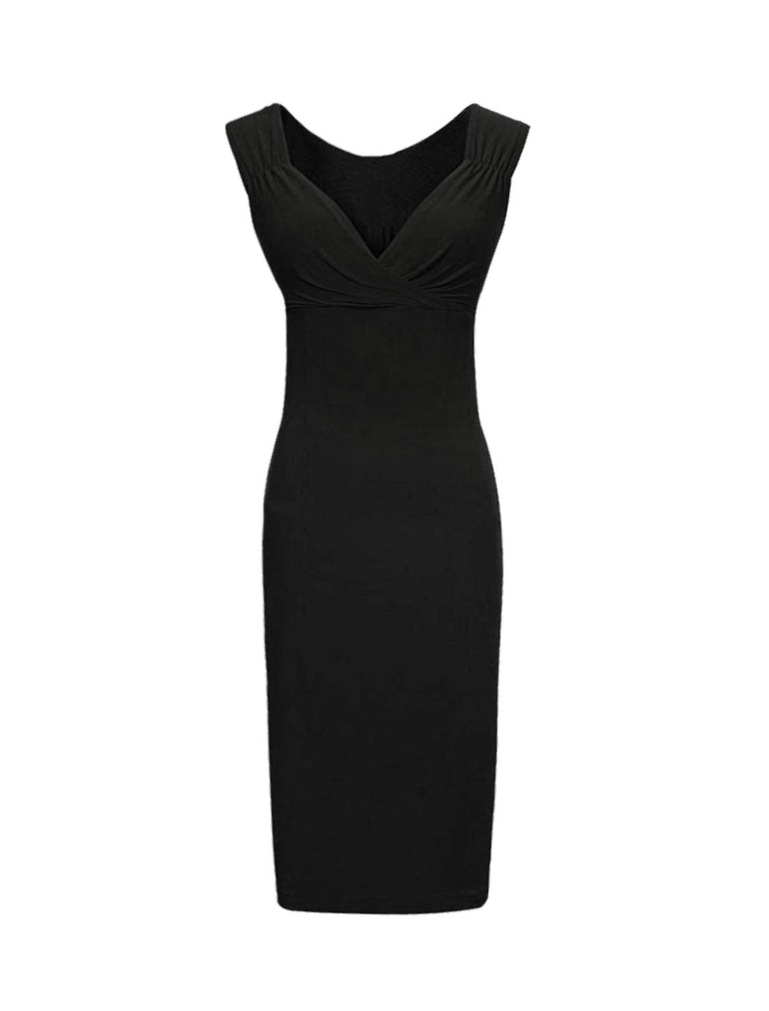 Women Crossover V Neck Ruched Sleeveless Pencil Dress Black XL