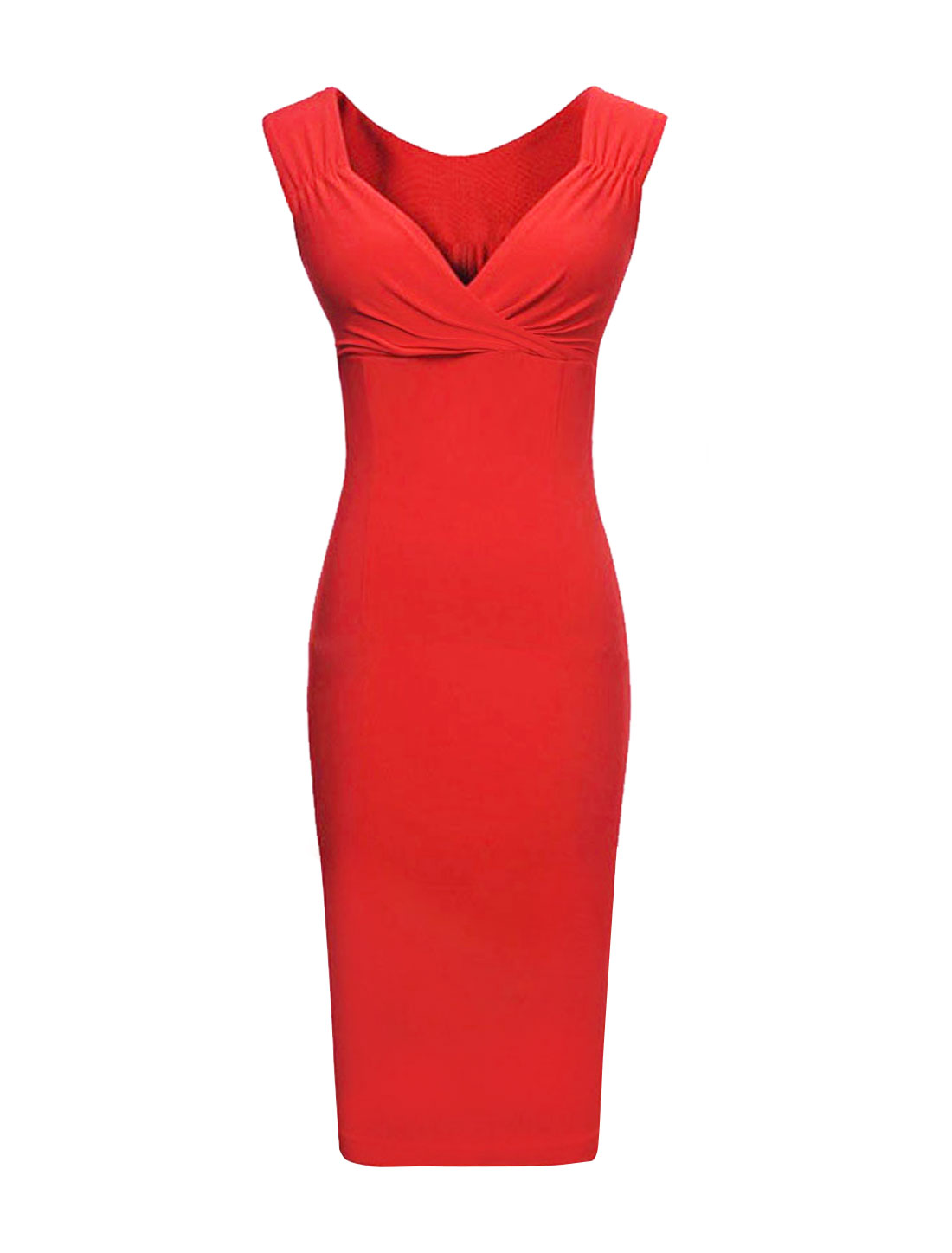 Women Crossover V Neck Ruched Sleeveless Pencil Dress Red XL