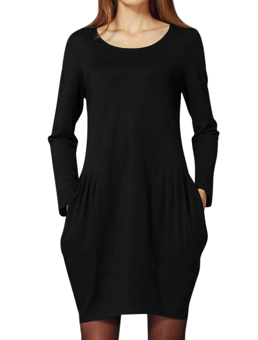 Women Round Neck Side Pockets Pleated Tunic Dress Black L