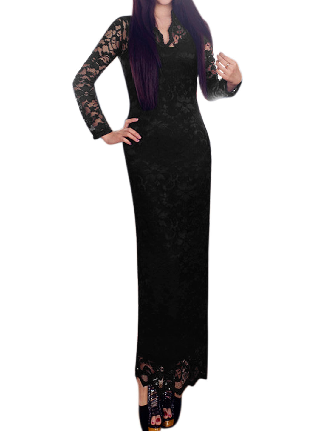 Women Semi Sheer Upper Scalloped V Neck Floral Lace Maxi Dress Black L