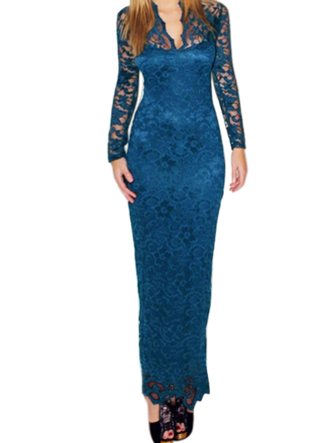 Women Semi Sheer Upper Scalloped V Neck Floral Lace Maxi Dress Blue L