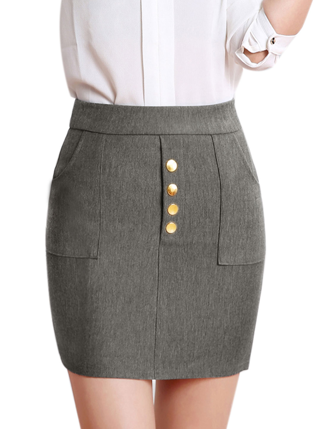 Lady Buttons Decor Two Pockets Stretch Slim Fit Straight Skirt Gray M