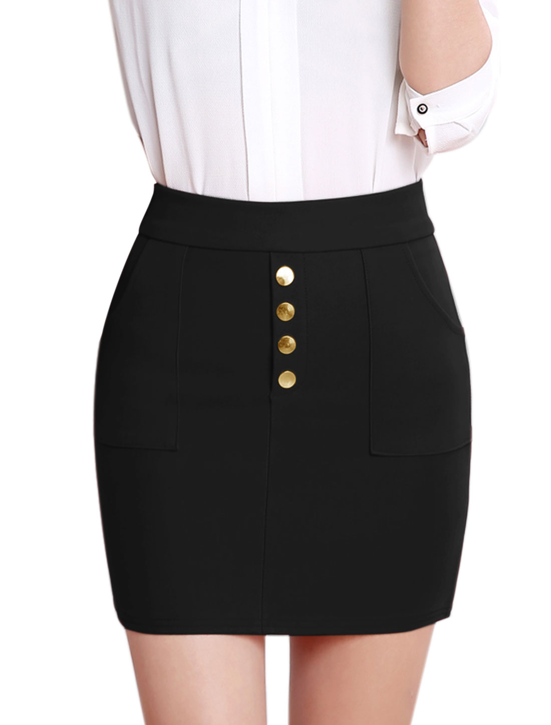 Lady Buttons Decor Two Pockets Stretch Slim Fit Straight Skirt Black M