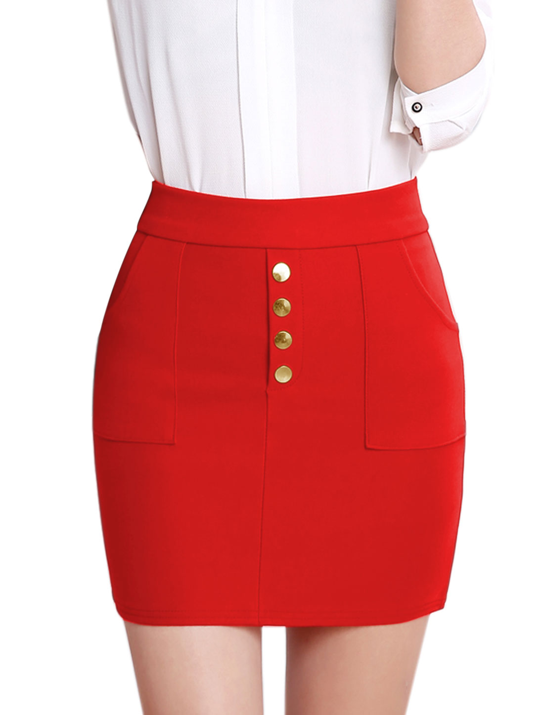 Lady Buttons Decor Two Pockets Stretch Slim Fit Straight Skirt Red M