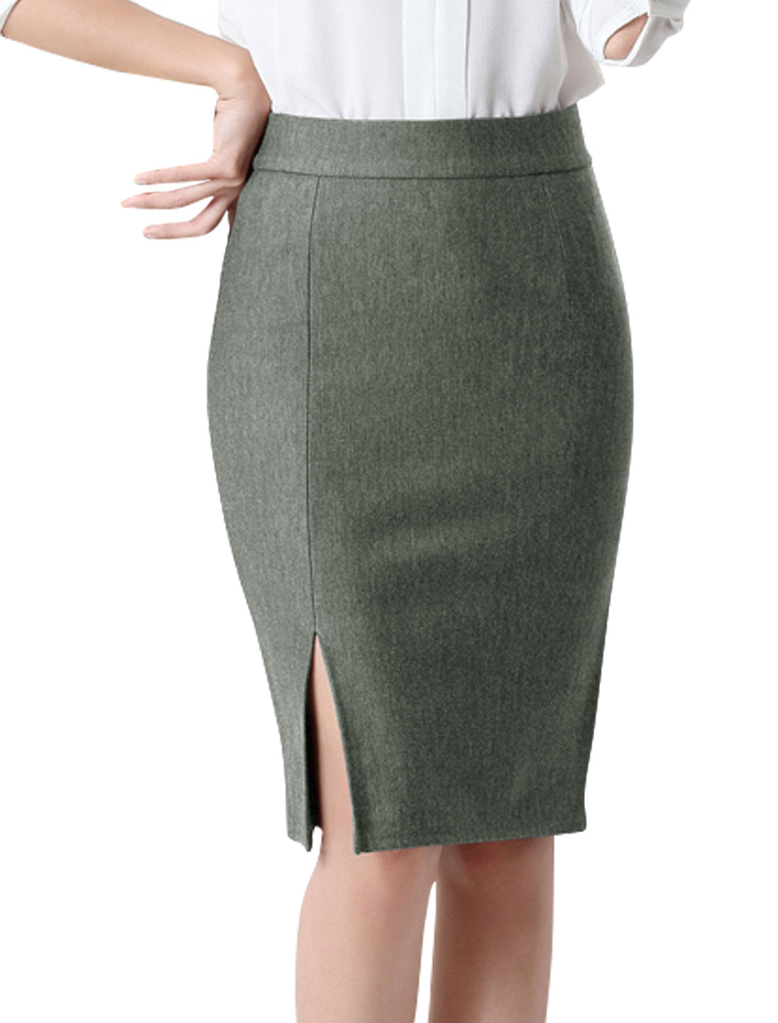 Women High Rise Split Side Knee Length Pencil Skirt Gray M