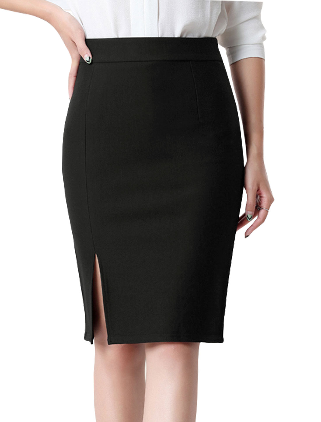 Women High Rise Split Side Knee Length Pencil Skirt Black M