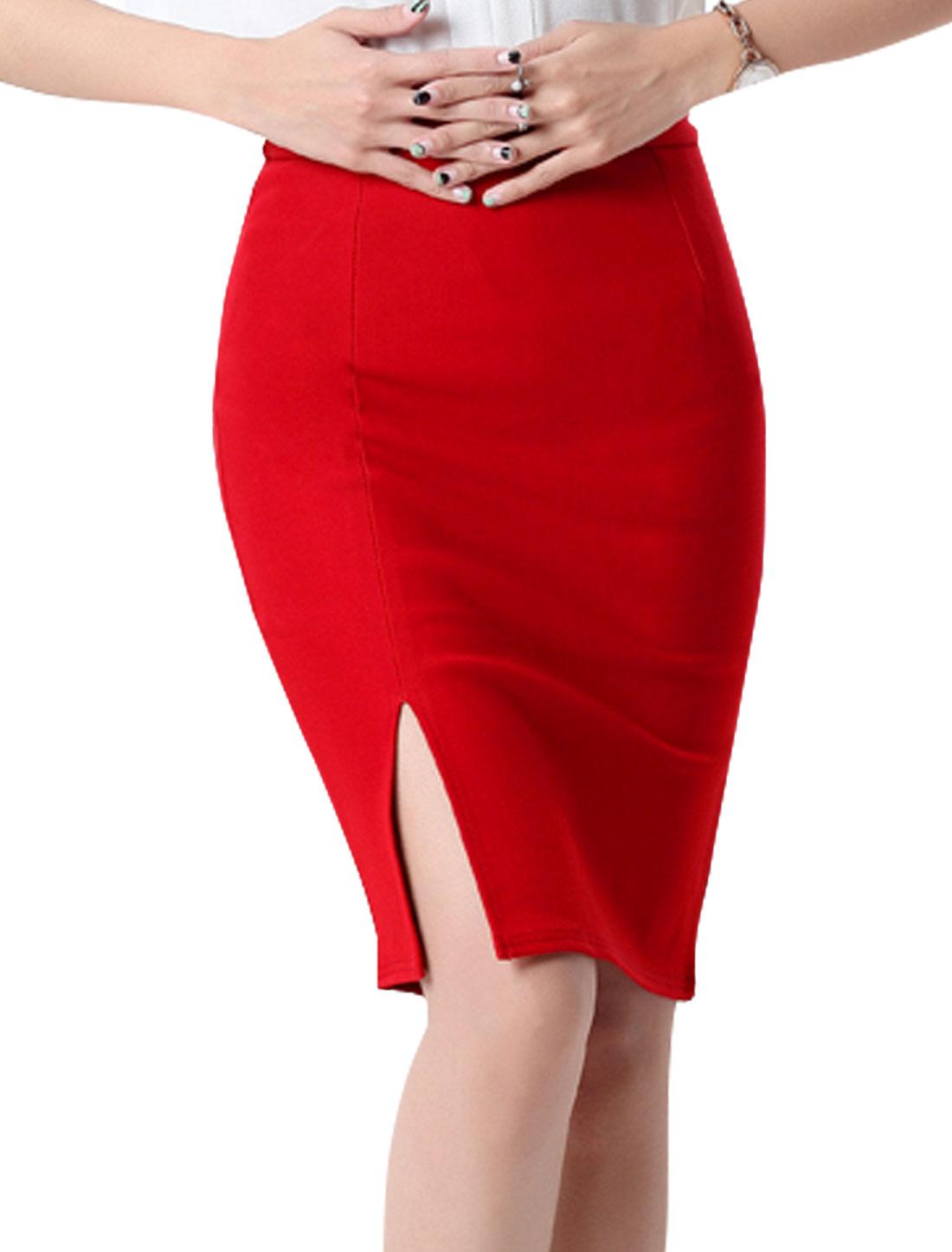 Women High Rise Split Side Knee Length Pencil Skirt Red M