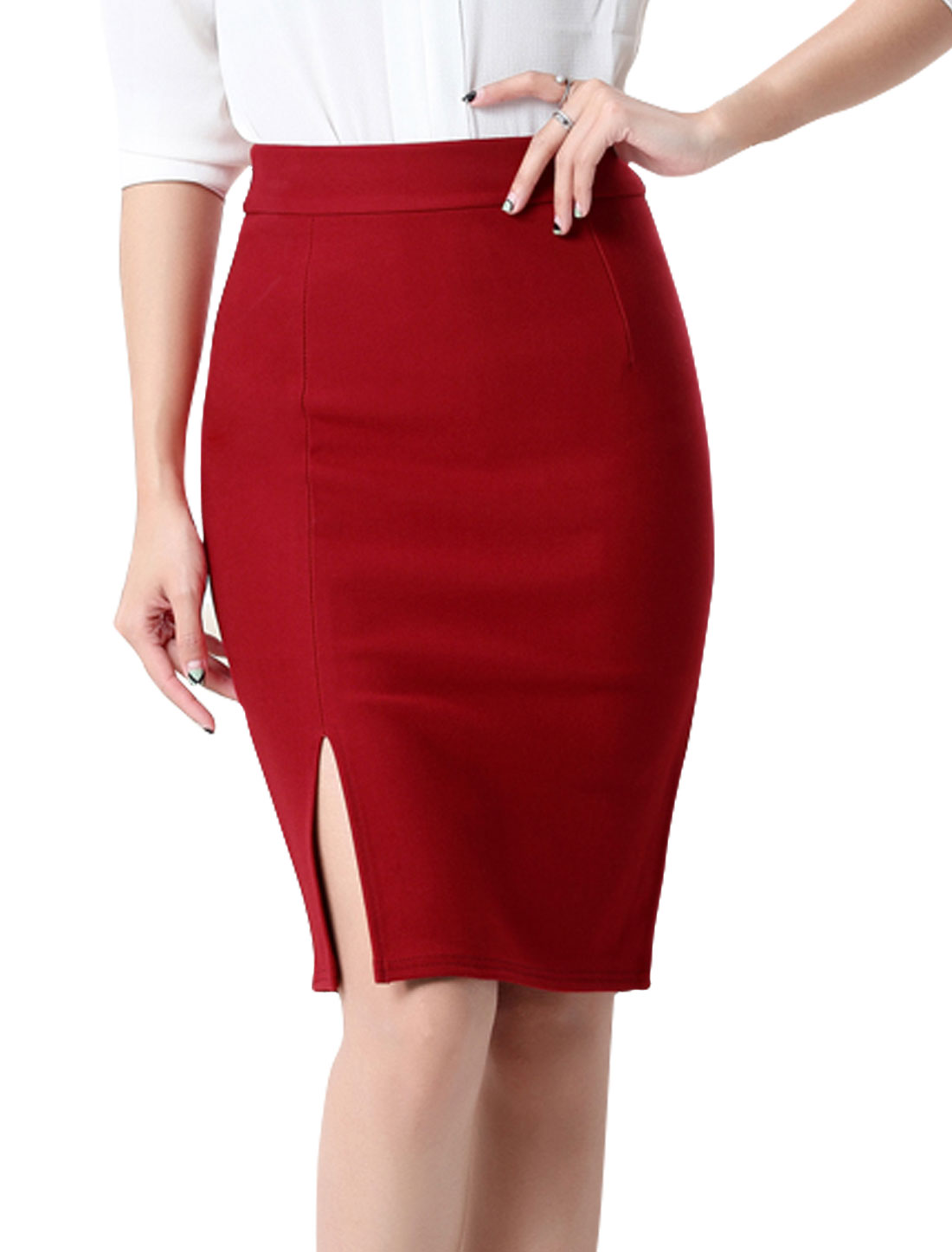 Women High Rise Split Side Knee Length Pencil Skirt Burgundy M