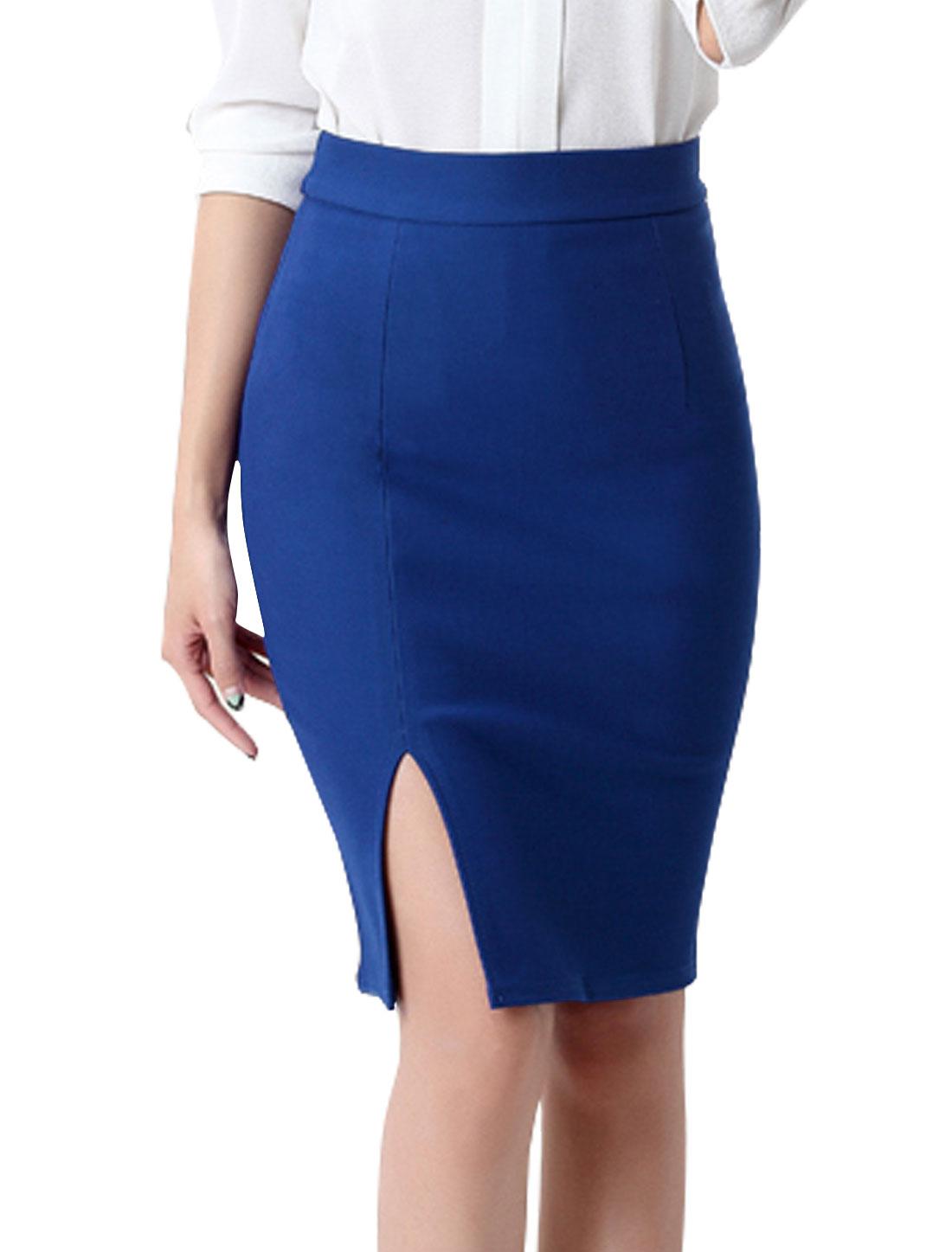 Women High Rise Split Side Knee Length Pencil Skirt Blue M