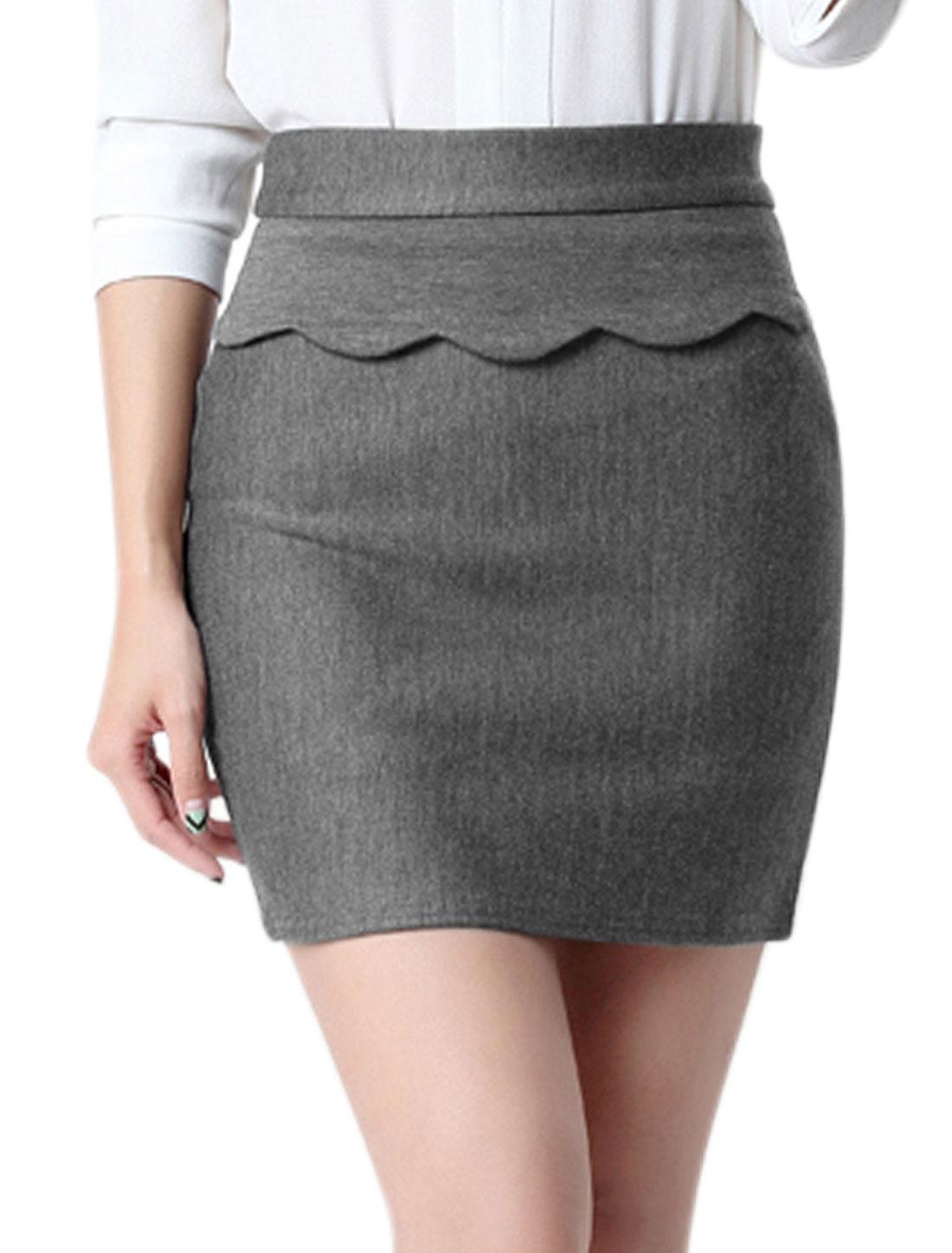 Women High Rise Stretchy Scalloped Layered Mini Skirt Gray M