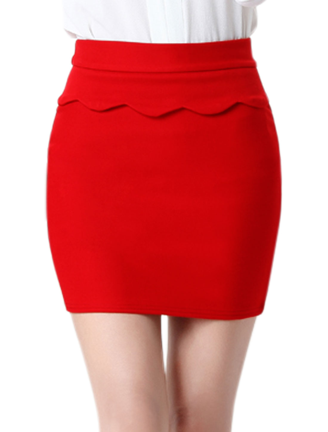 Women High Rise Stretchy Scalloped Layered Mini Skirt Red M