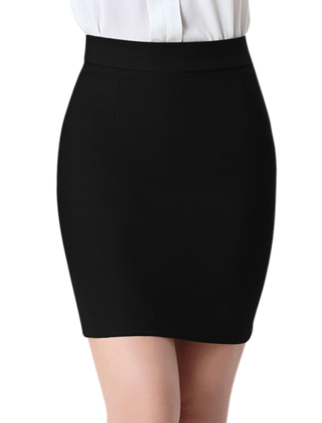 Women High Rise Split Back Stretchy Bodycon Mini Skirt Black M