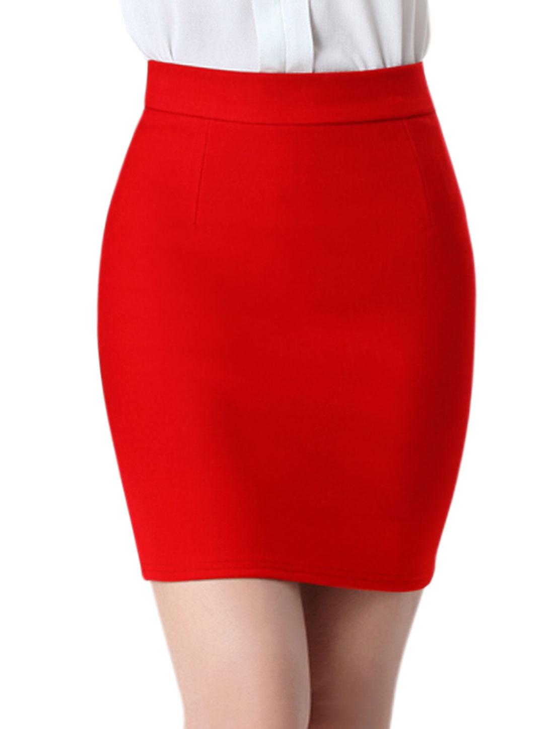 Women High Rise Split Back Stretchy Bodycon Mini Skirt Red M