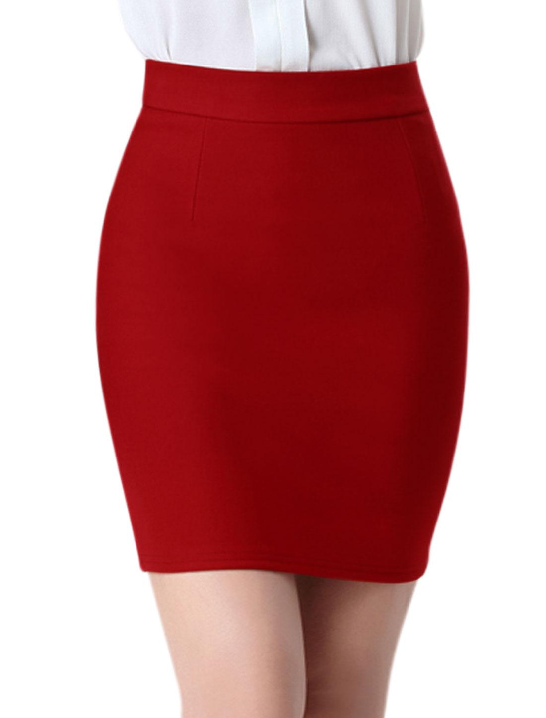 Women High Rise Split Back Stretchy Bodycon Mini Skirt Burgundy M