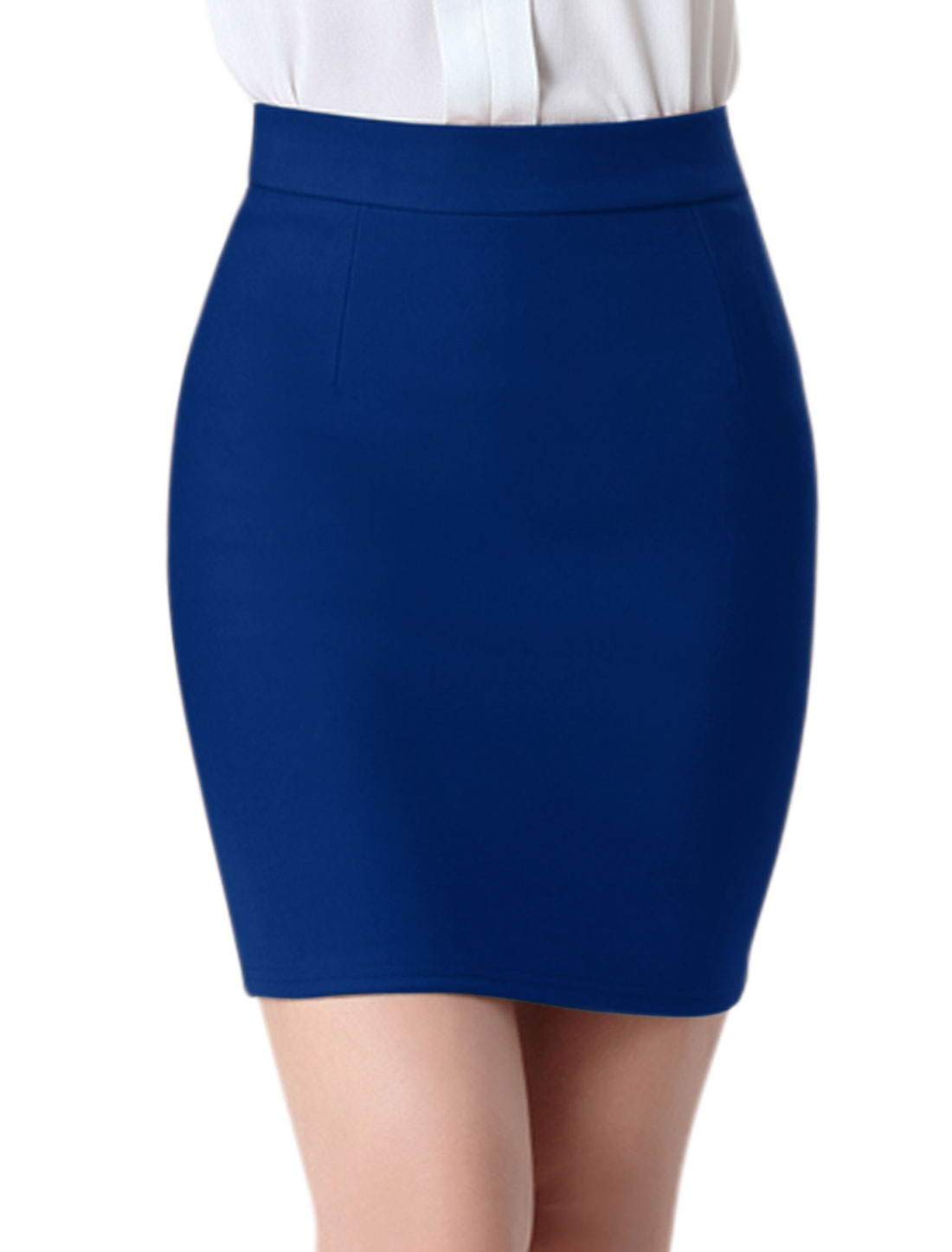 Women High Rise Split Back Stretchy Bodycon Mini Skirt Blue M