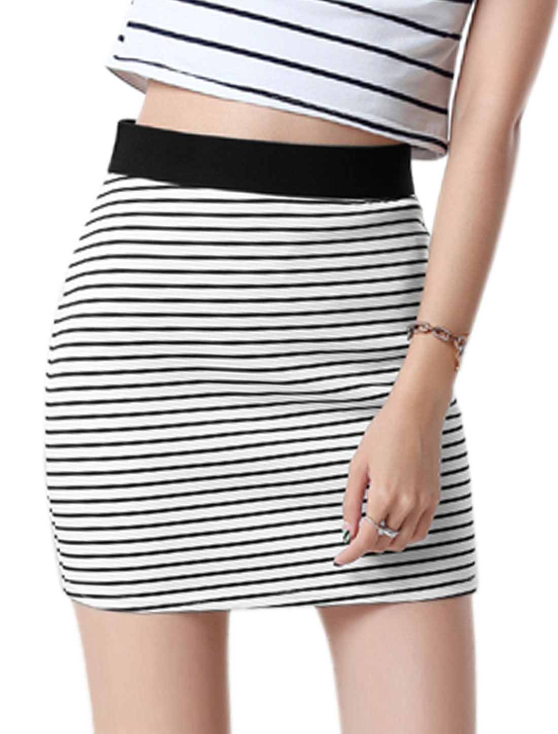 Women Wide Band High Rise Stripes Bodycon Mini Skirt White L