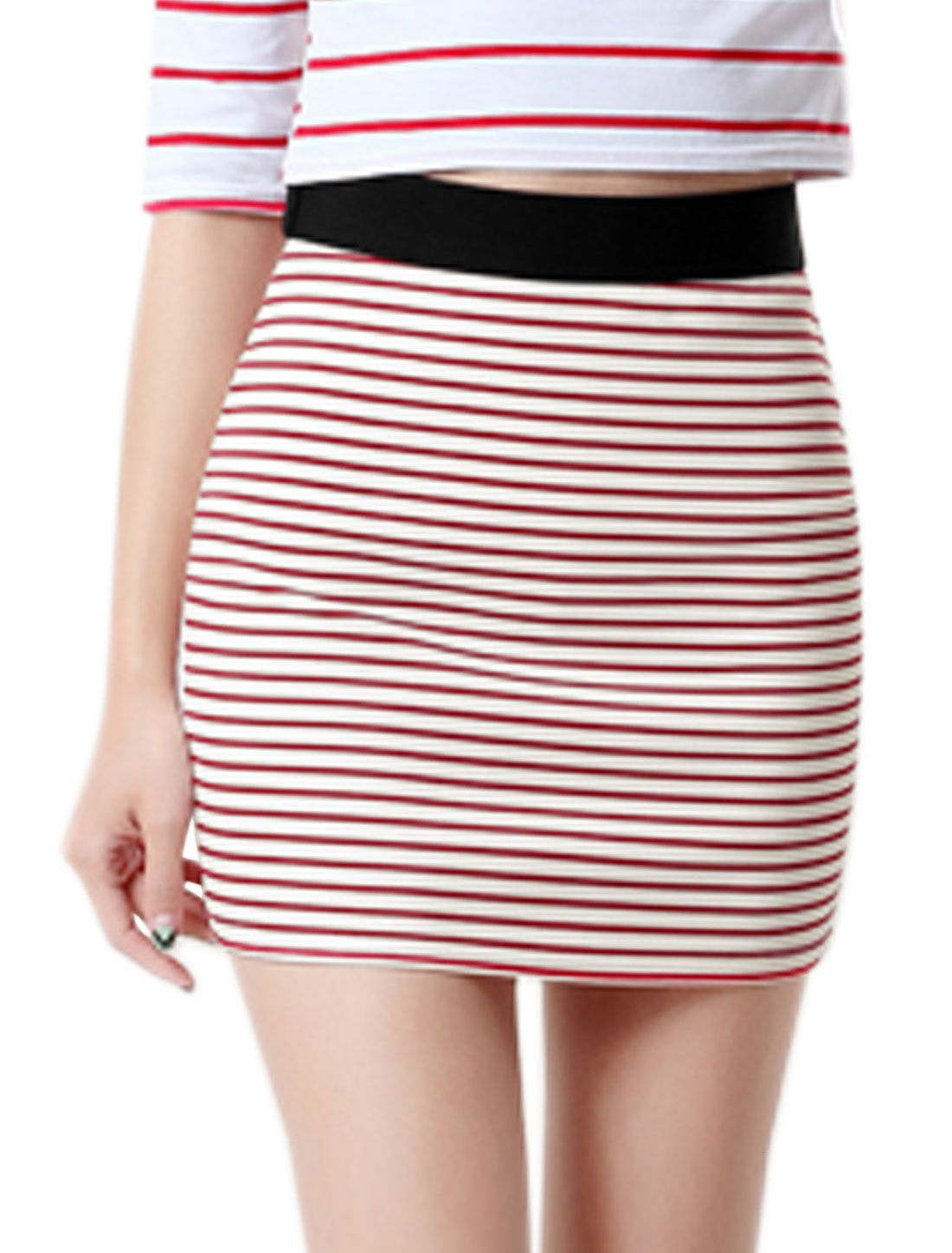 Women Wide Band High Rise Stripes Bodycon Mini Skirt Red L