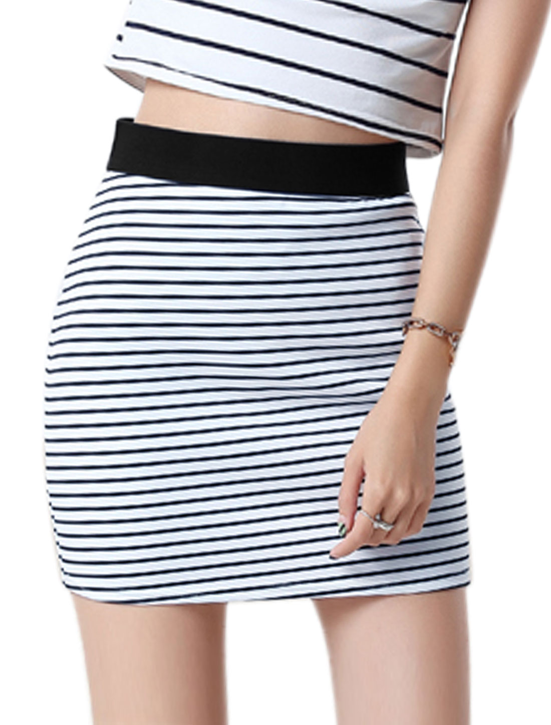 Women Wide Band High Rise Stripes Bodycon Mini Skirt Blue L