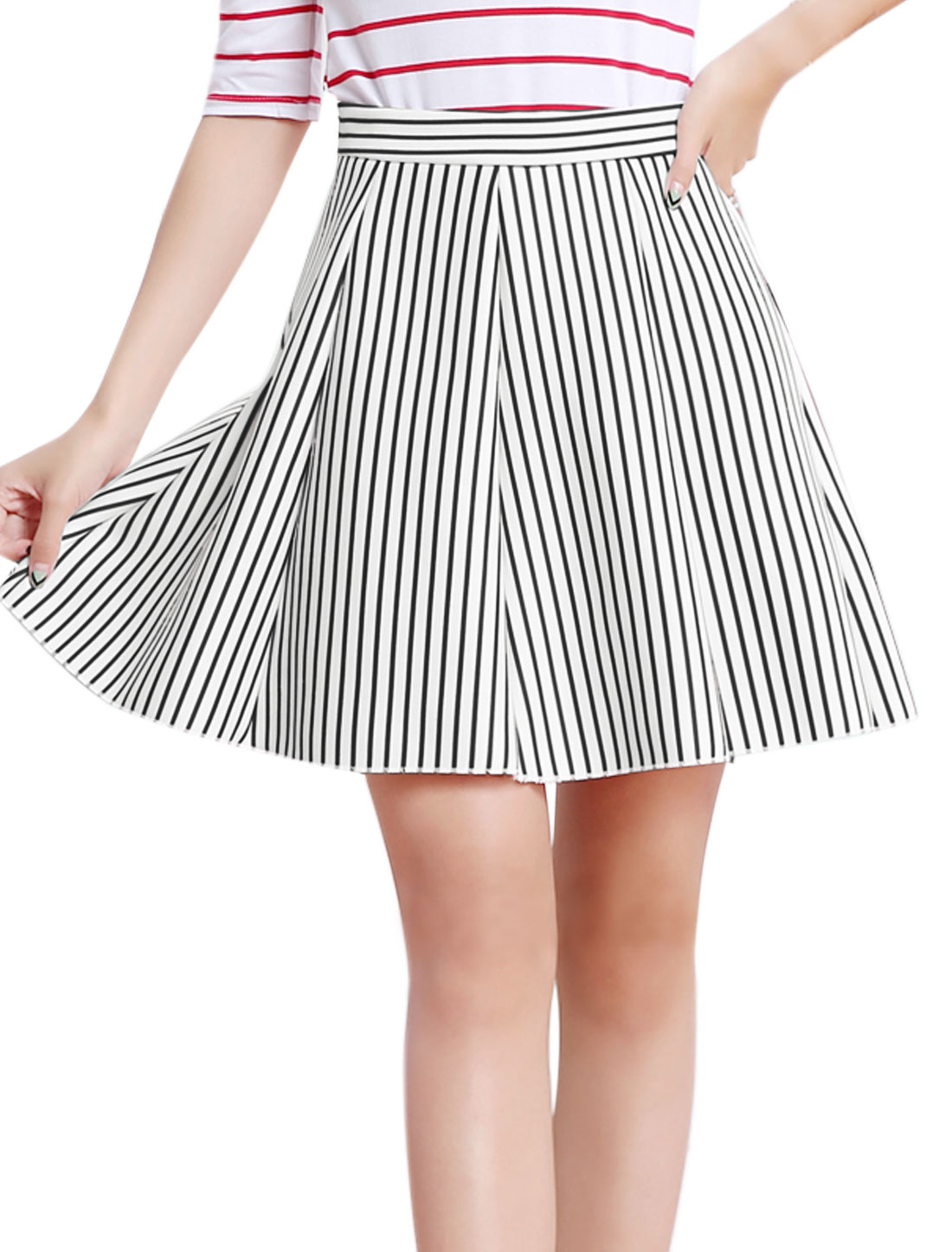 Women High Waist Pleated Stripes Print A Line Skort Black M