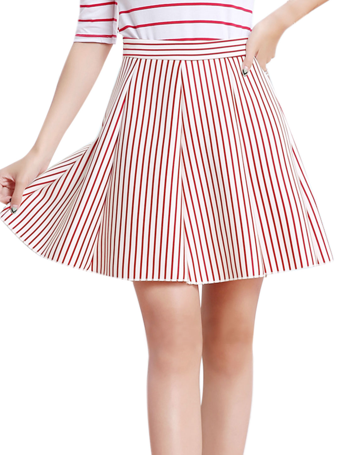Women High Waist Pleated Stripes Print A Line Skort Red M