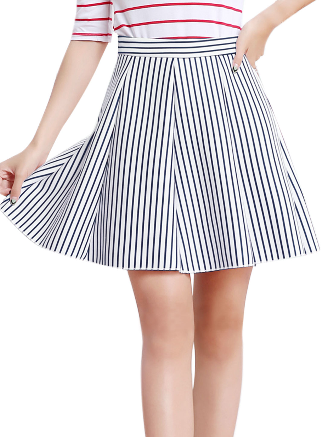 Women High Waist Pleated Stripes Print A Line Skort Blue M