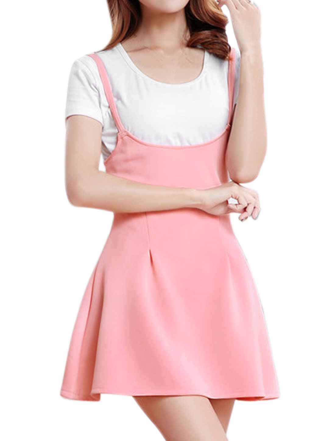 Women High Waist Fit and Flare Mini Suspender Dress Pink XS