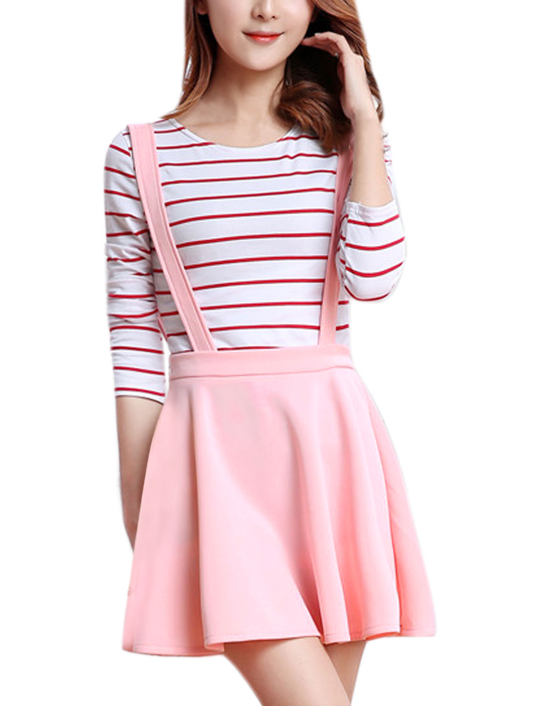 Women Detachable Straps Zipper Side A Line Suspender Skirt Pink M