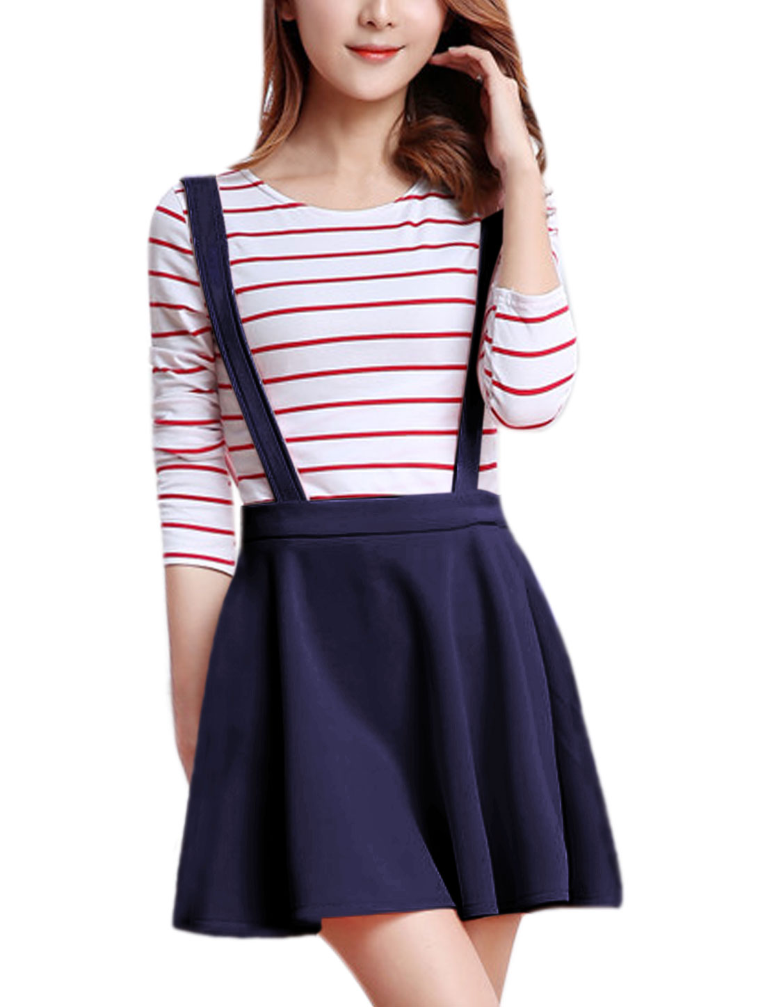Women Detachable Straps Zipper Side A Line Suspender Skirt Blue M