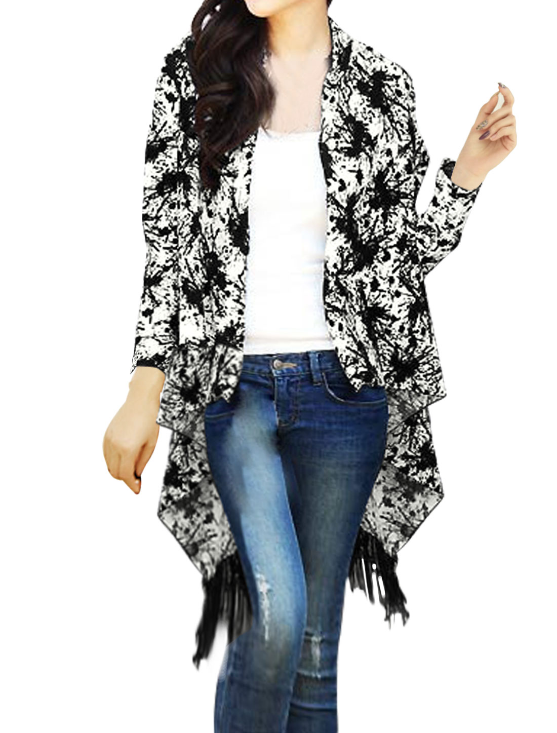 Lady Open Front Fringed Hem Draped Novelty Tunic Cardigan White XS